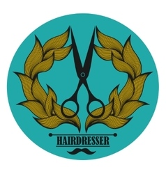 Vintage label for hairdresser and barber with vector image vector image