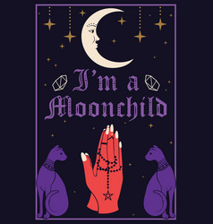 violet cats and moon praying hands holding a vector image