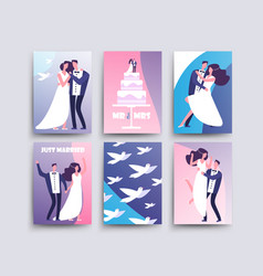 Wedding cards with cartoon characters couples vector