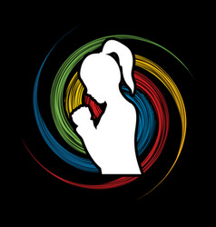 woman prayer shadow graphic vector image