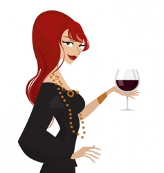 woman with wine glass vector image