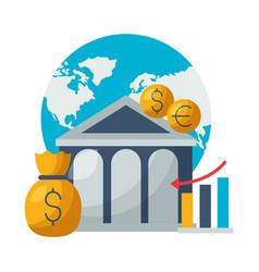 world bank money report chart stock market vector image