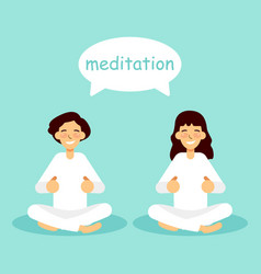 young woman and man practicing yoga vector image