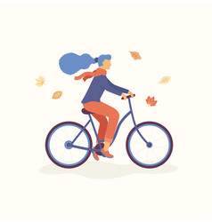young women riding a bicycle in the park falling vector image