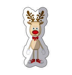 color christmas reindeer icon vector image