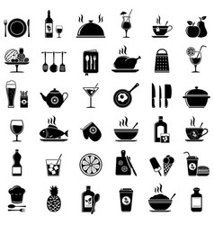 cooking kitchen tools food and drinks icons vector image