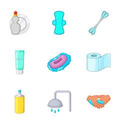 bathroom equipment icons set cartoon style vector image