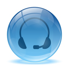 Blue abstract 3d headset icon vector image