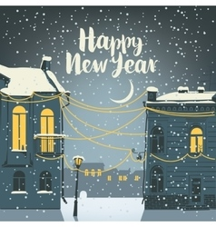 Christmas card with old town vector image