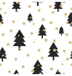 Gold shimmer glitter polka dot and black tree vector image vector image