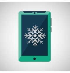 green smartphone weather snow icon design vector image