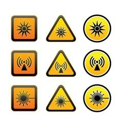 Set hazard warning symbols vector image vector image