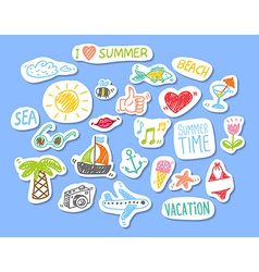 Set of stickers with sketch element summer theme vector image vector image
