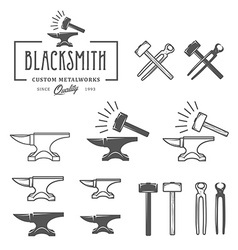Vintage blacksmith labels and design elements vector image vector image