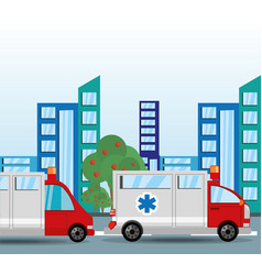 Ambulance transiting for the city vector