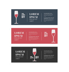 Cafe banners set with wine glass vector