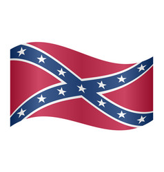 Confederate rebel flag waving on white background vector
