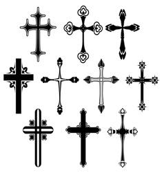 Cross symbol set vector image vector image