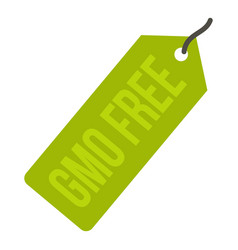 gmo free green price tag icon isolated vector image