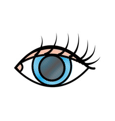 grated vision eye with eyelashes style design vector image