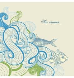 Sea waves and fish vector image