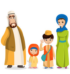 arabic family in national clothes parents vector image