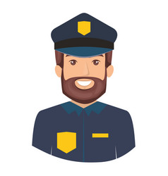 colorful portrait half body of bearded policeman vector image