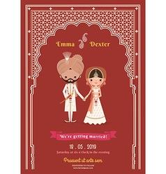 Indian Wedding Bride Groom Cartoon Save The Date vector image vector image