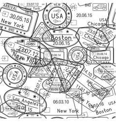 passport stamps seamless pattern black and white vector image