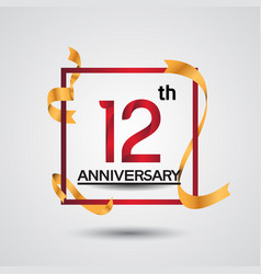 12 anniversary design with red color in square vector