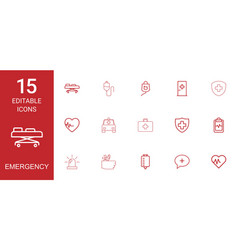 15 emergency icons vector