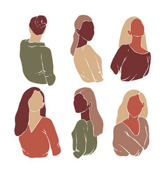 Abstract girls minimalism silhouette vector