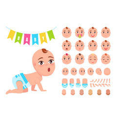 Baby constructor and flags vector