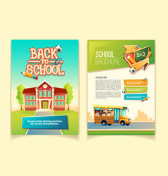 Back to school brochure cartoon template vector