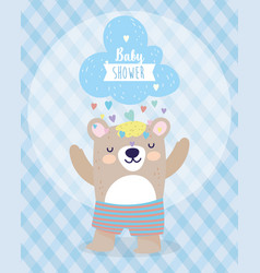 bashower cute bear and cloud with rain of vector image