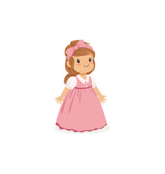 Beautiful little girl posing in pink long dress vector