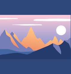 beautiful natural landscape with mountains in the vector image