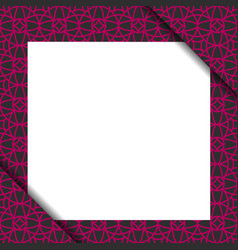 Blank paper on violet geometric pattern vector