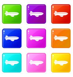 Blimp aircraft flying icons 9 set vector