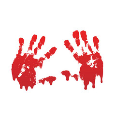 Bloody hand print set isolated white background vector