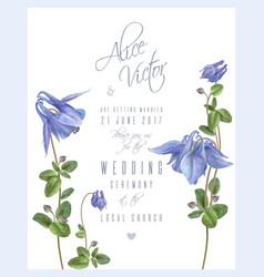 blue flower invitation card vector image