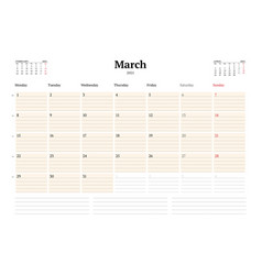 Calendar template for march 2021 business monthly vector