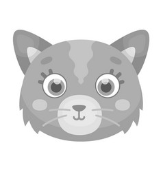 Cat muzzle icon in monochrome style isolated on vector