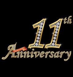 Celebrating 11th anniversary golden sign vector