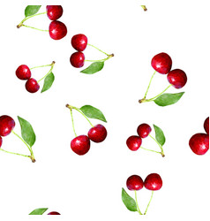 Cherries seamless pattern polygonal vector