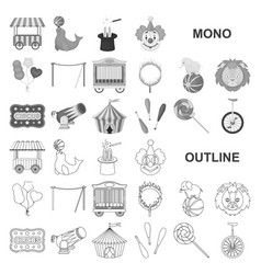 Circus and attributes monochrom icons in set vector