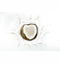 coconut in milk splash isolated on white backdrop vector image
