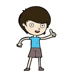 comic cartoon boy giving thumbs up symbol vector image
