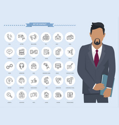 communication thin line icons businessman with vector image