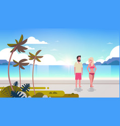 couple man woman sunrise tropical palm beach vector image
